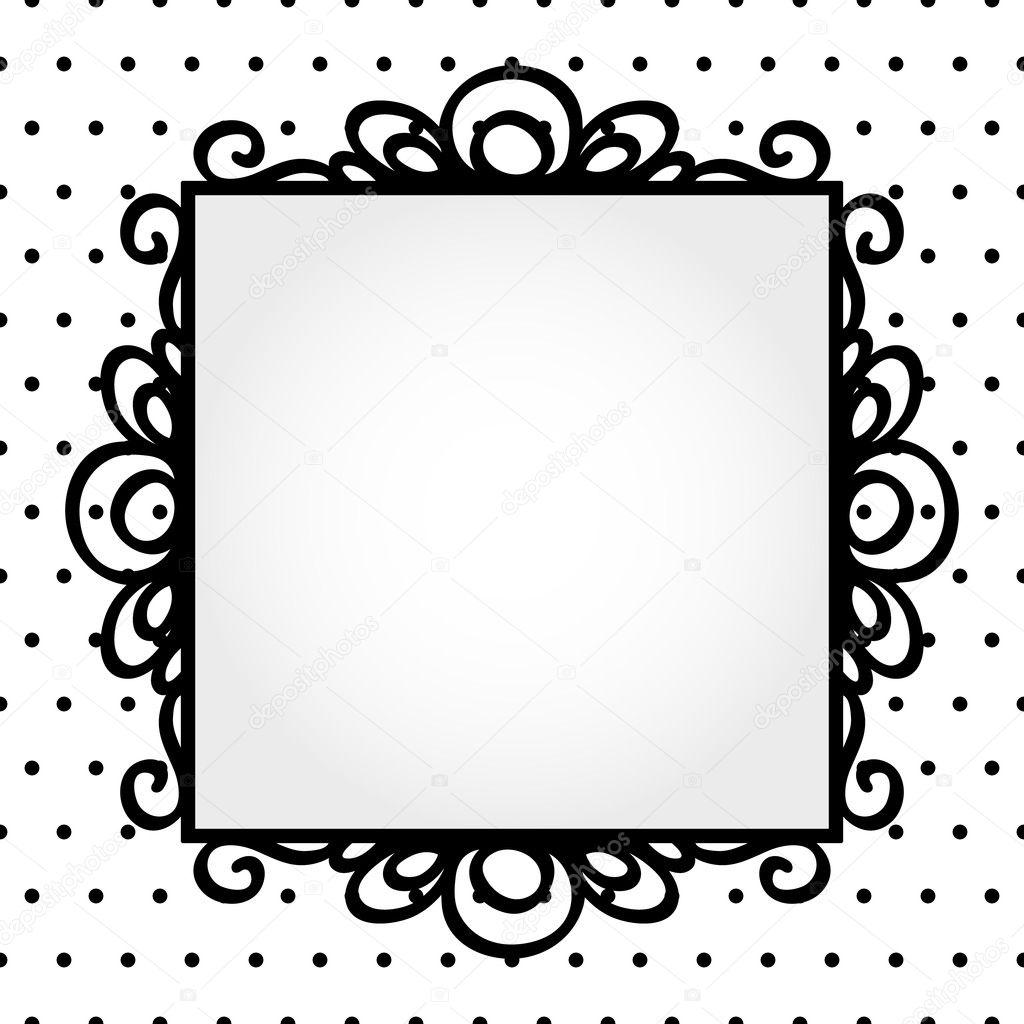 Retro square frame on polka dot background invitation or greeting ...