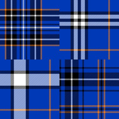 Tartan traditional fabric in blue seamless patterns set, vector