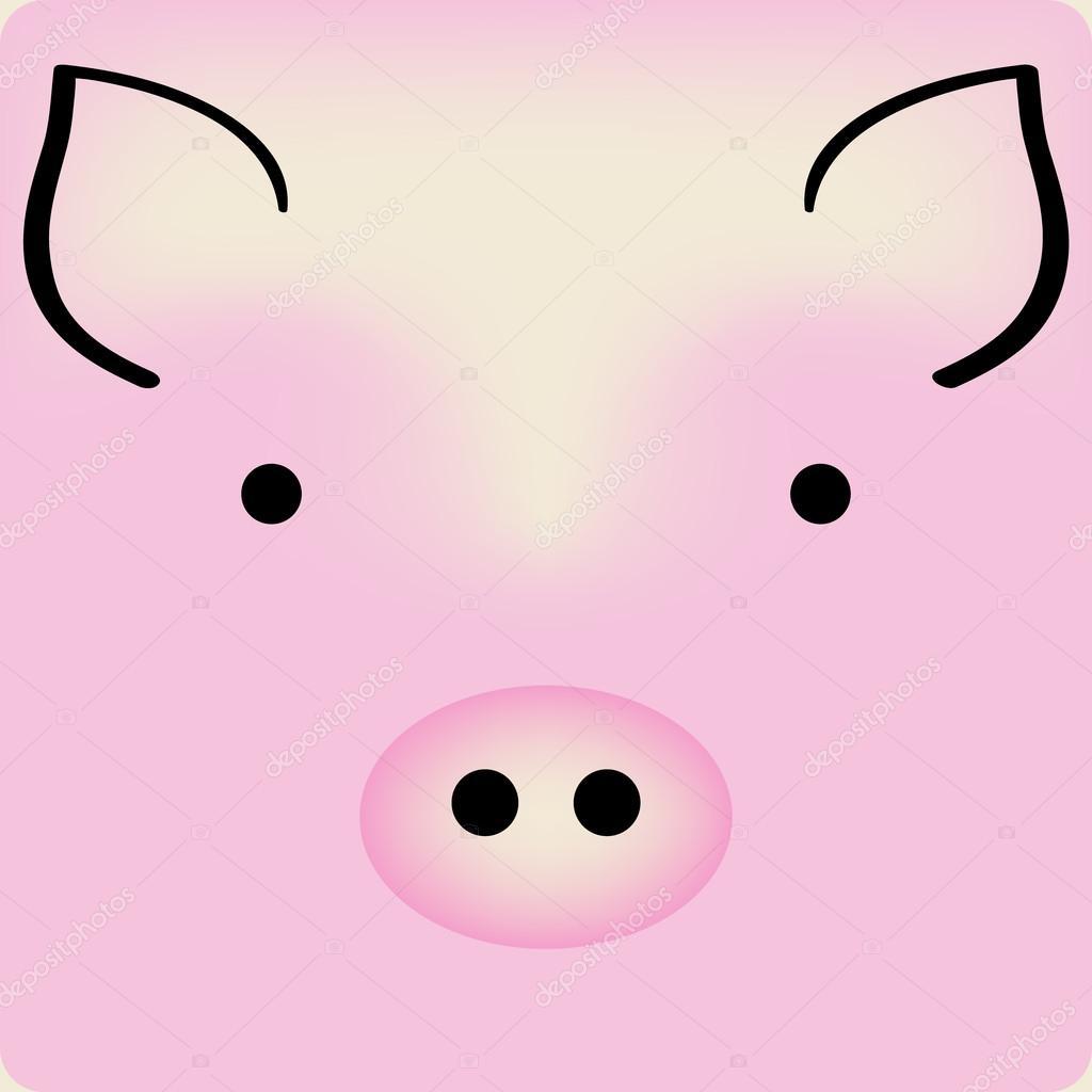 Visage de cochon dessin anim mignon rose vecteur de fond pour une carte image vectorielle - Image de cochon mignon ...