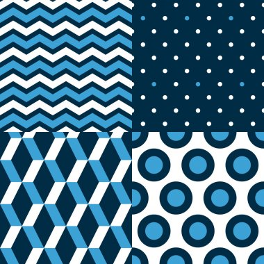 Marine seamless patterns collection in blue black and white - chevron, dots, stripes, circles, vector