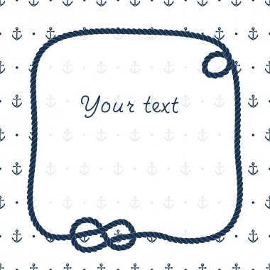 Navy blue rope knots frame for your text on anchors white background, vector
