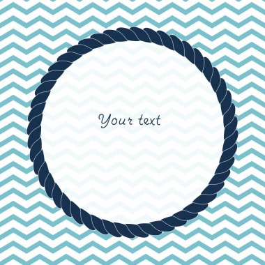 Round navy blue rope frame background for your text or photo on chevron, vector