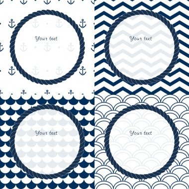 Navy blue and white travel round frames set on chevron, scalloped and anchor patterned backgrounds, vector