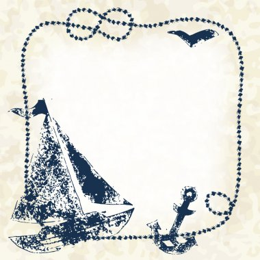 Navy blue prints of a boat, anchor and seagull with a marine rope frame on a grunge background, vector