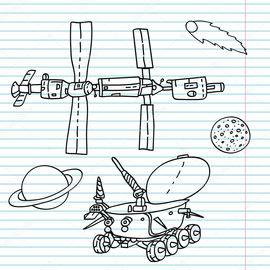 Raum Elemente Zeichnungen auf einem Notebook-Blatt - Iss, Moonwalker ...