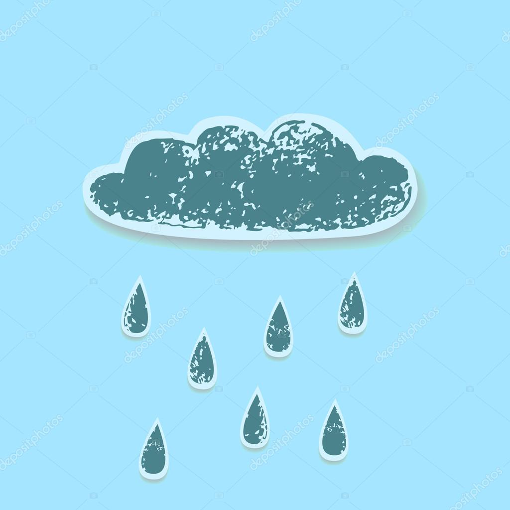 Worn paper grunge grey rain cloud on a blue sky background, vector
