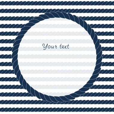 Navy blue and white circle rope frame background for your text or image, vector