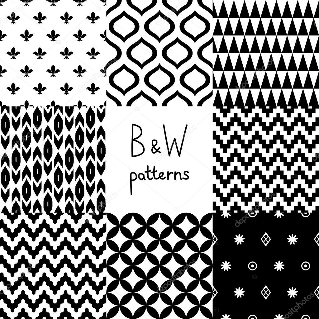 Black and white geometric seamless patterns set, vector