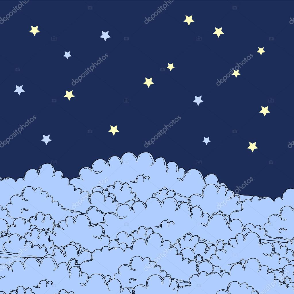 Night sky stars over clouds background, vector