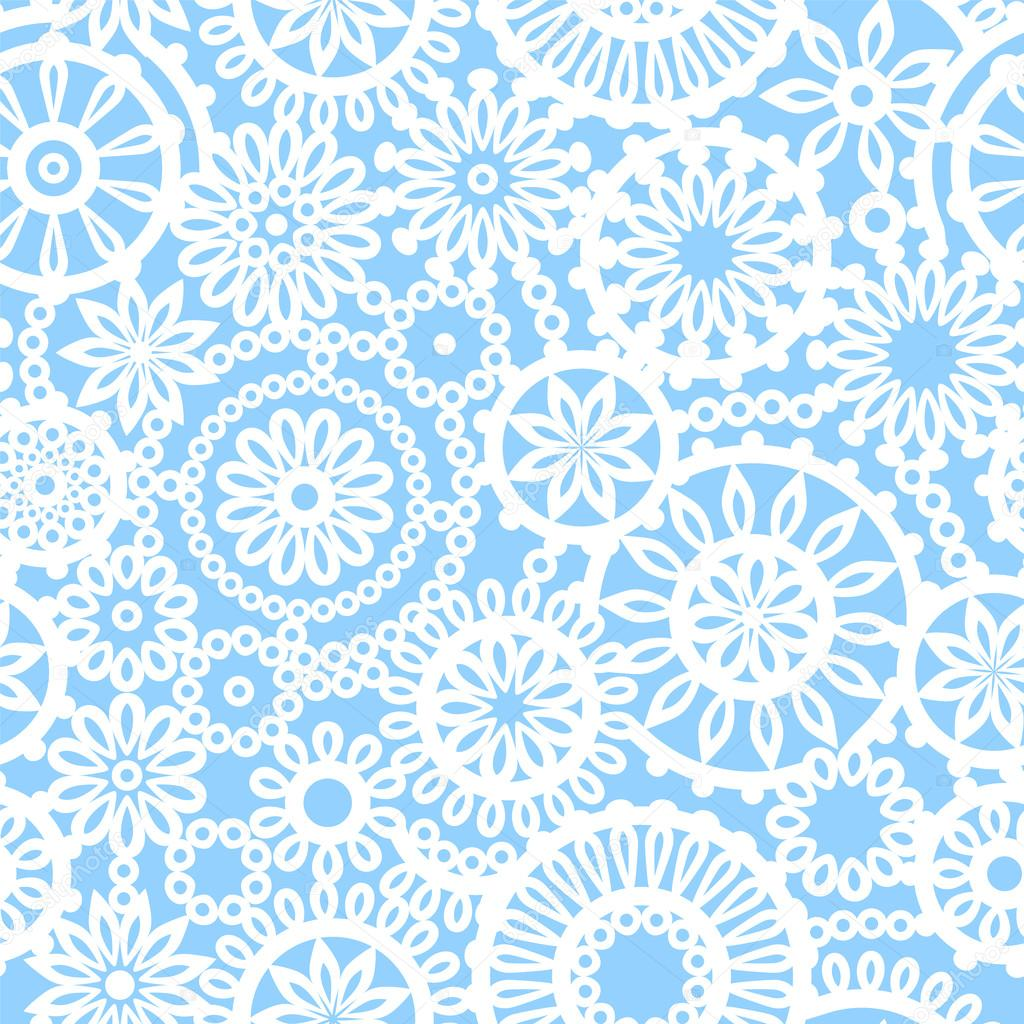 Blue and white geometric crochet circle flowers seamless pattern, vector