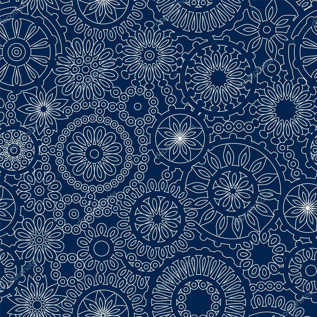 Weihnachten Schneeflocke lacy Gehäkelte nahtlose Muster in blau und ...