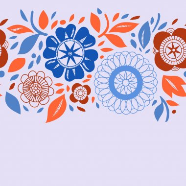 Flowers and leaves in orange and blue autumn seamless background, vector