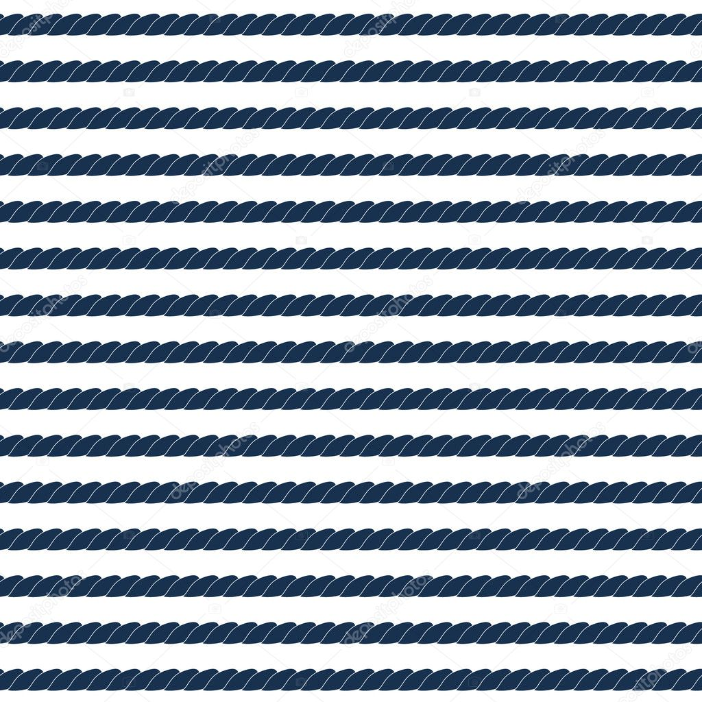 Navy rope striped seamless pattern in blue and white, vector