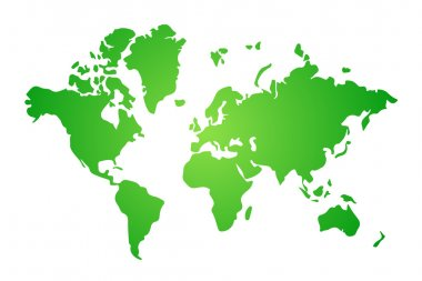 Green and white flat world map illustration, vector