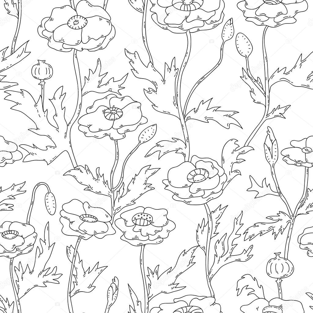 Black and white graphic poppy flowers seamless pattern, vector