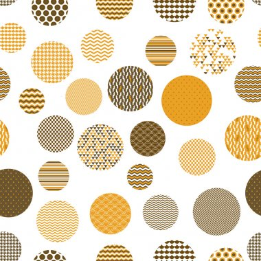 Golden and white patterned circles geometric seamless pattern, vector