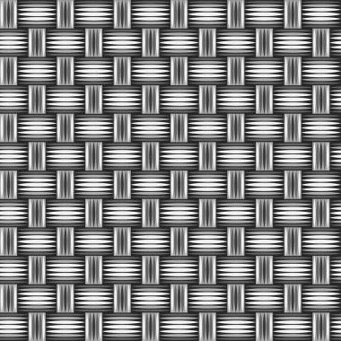 Wicker wooden straw texture seamless pattern in grey, vector