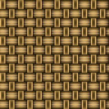 Wicker wooden straw texture seamless pattern in brown, vector