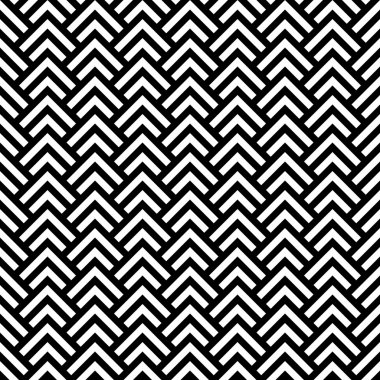 Black and white chevron geometric seamless pattern, vector