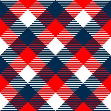 Checkered gingham fabric seamless pattern in blue white and red, vector