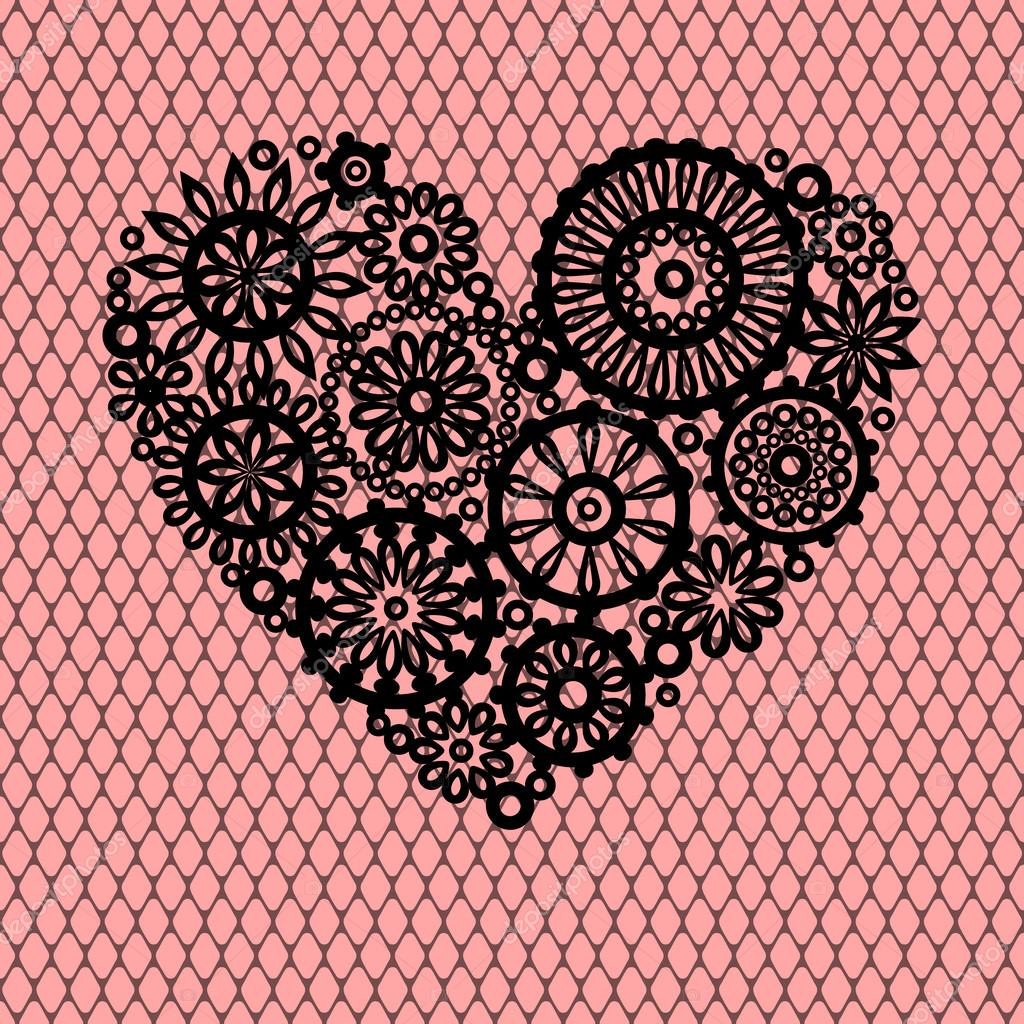 negro corazón de flores de encaje en malla Rosa romántico tarjeta de ...