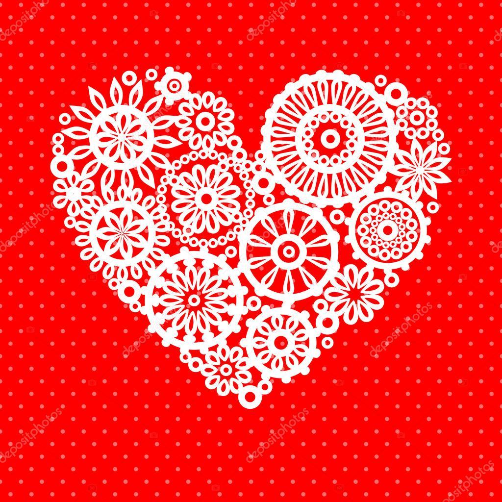 weiße häkeln Spitze Blumen Herz auf rot romantische Grußkarte ...