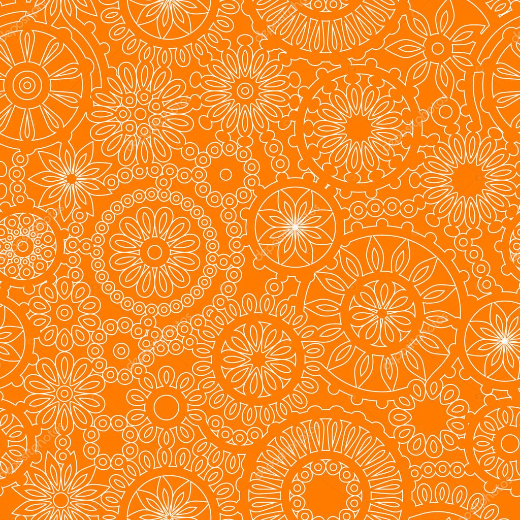 Filigree floral seamless pattern in orange and white, vector