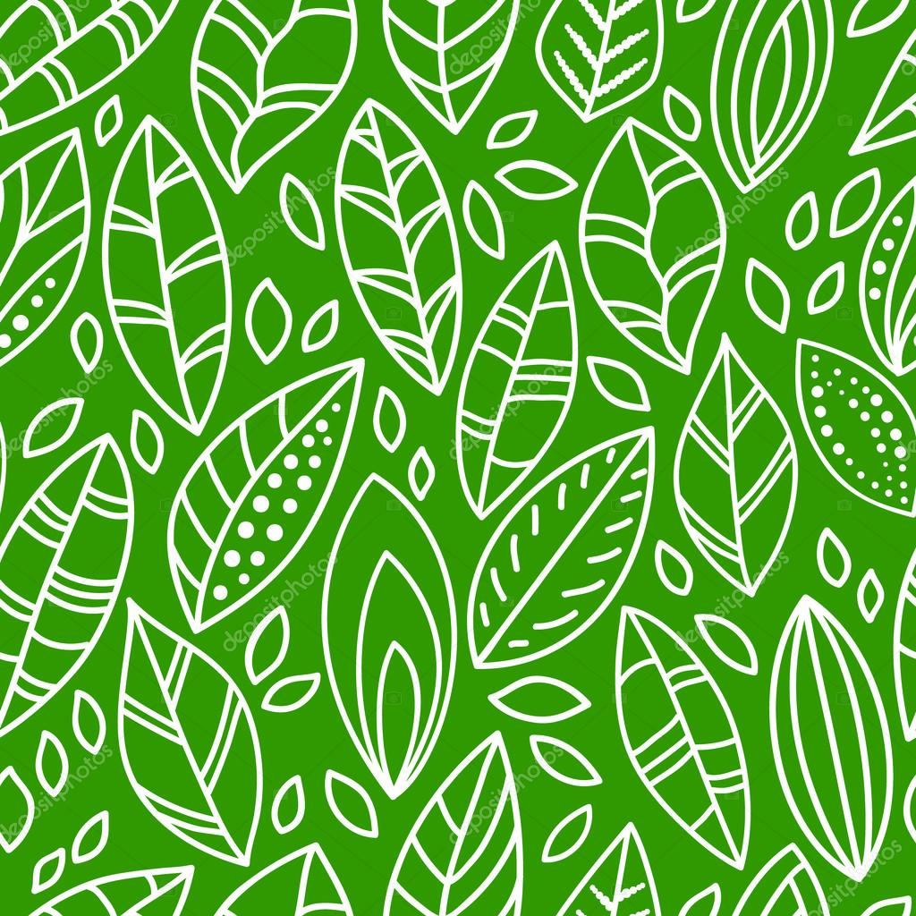 Green and white doodle leaves seamless pattern, vector