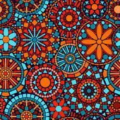 Színes kör mandalák zökkenőmentes virágmintás, kék, piros és narancssárga, vektor