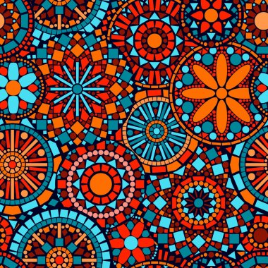 Colorful circle flower mandalas seamless pattern in blue red and orange, vector