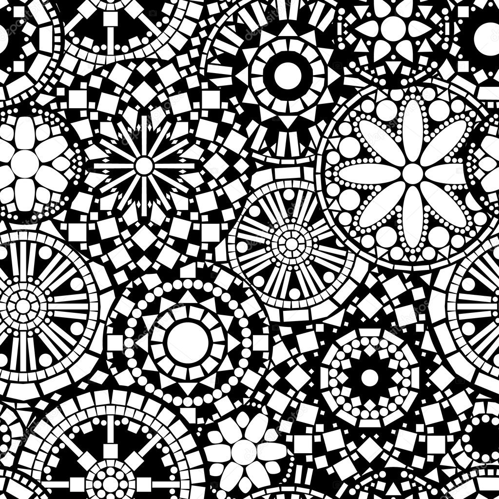 Black and white circle floral mandalas seamless pattern, vector