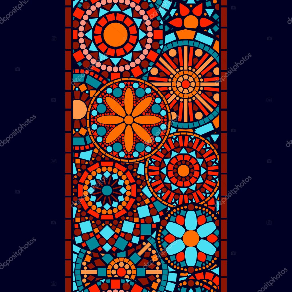 Colorful circle flower mandalas seamless border in blue red and orange, vector