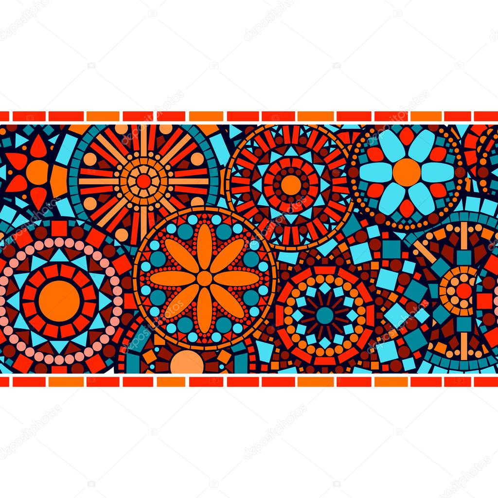 Colorful circle floral mandalas horizontal seamless border, vector
