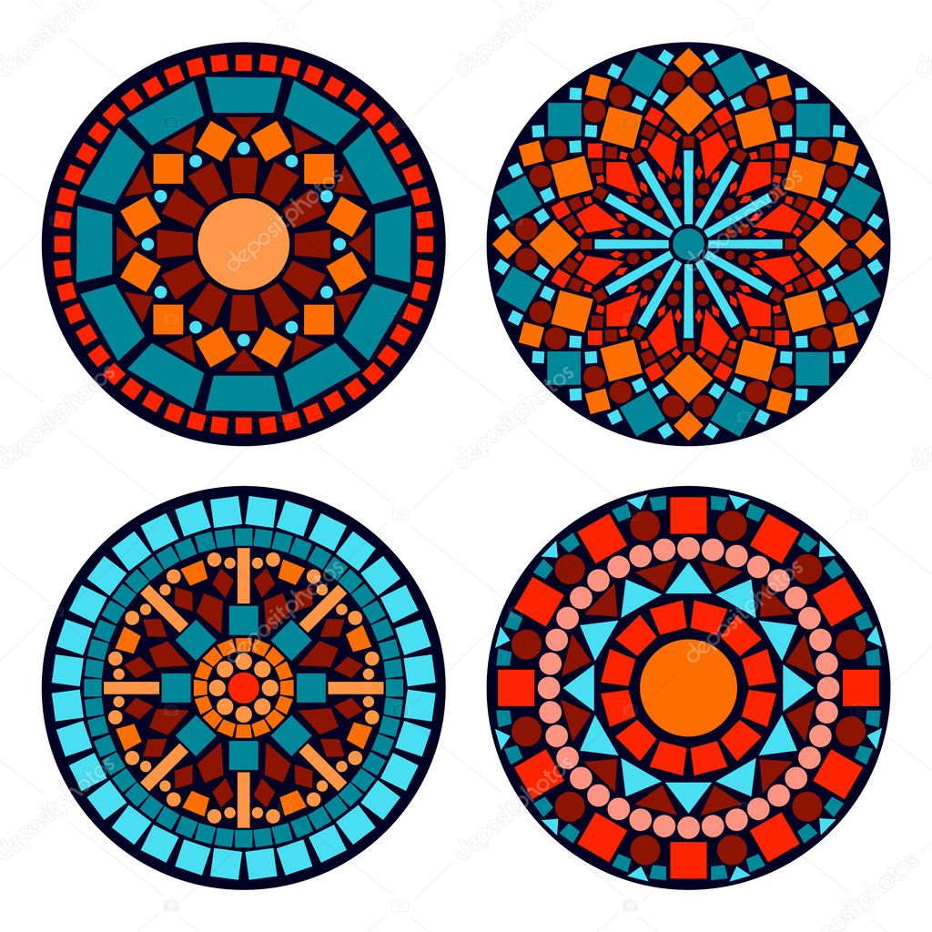 Colorful circle floral ethnic mandalas set in blue red and orange, vector