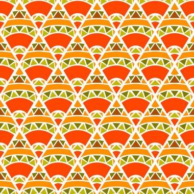 Orange and green geometric mosaic seamless pattern, vector