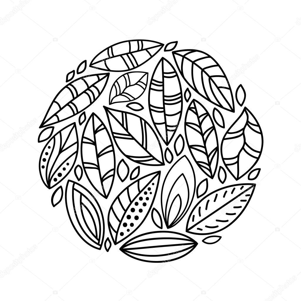 листья картинки черно белые