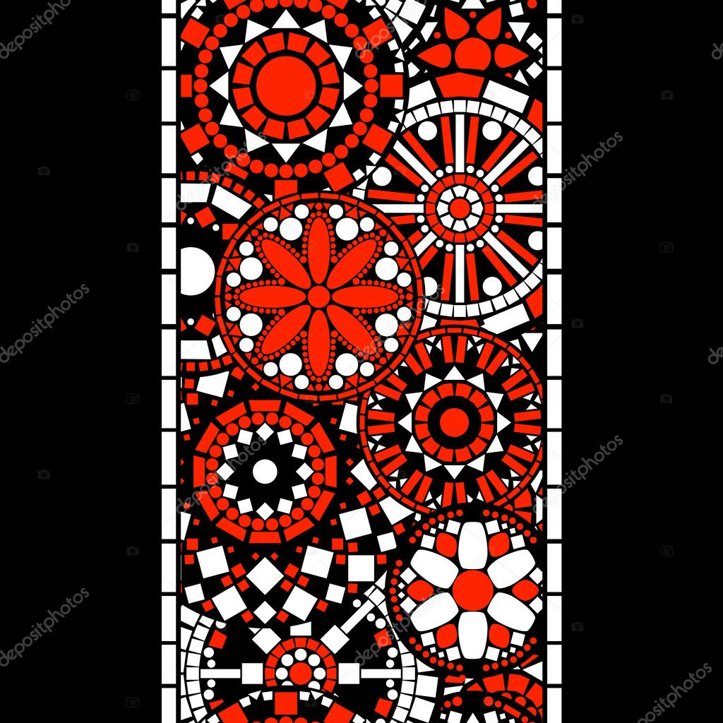 Colorful black white and red circle floral mandalas seamless pattern border, vector
