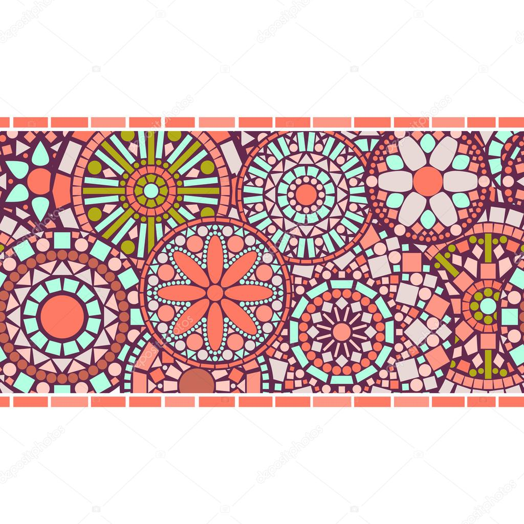 Colorful circle floral mandalas horizontal seamless pattern border in pink, vector
