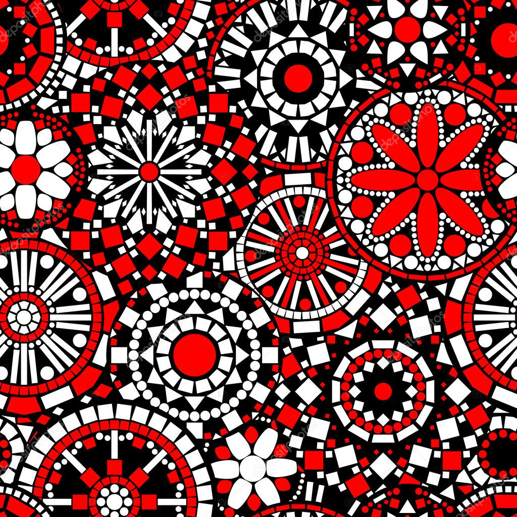 Colorful circle flower mandalas seamless pattern in black white and red, vector