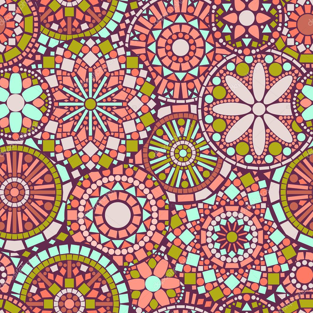Colorful circle flower mandalas seamless pattern in pink and green, vector