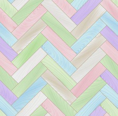 Pastel colored realistic wooden floor herringbone parquet seamless pattern, vector