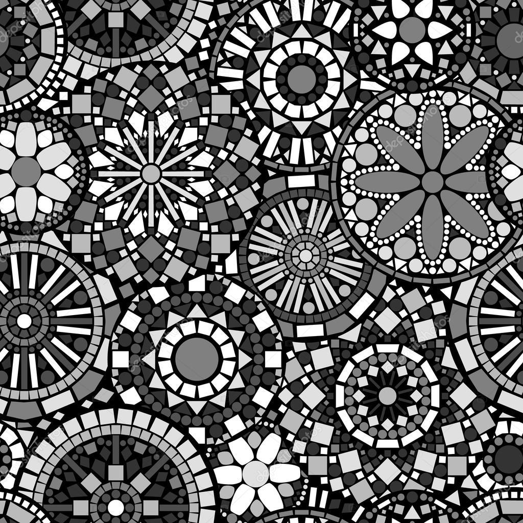 Black white and grey circle mandalas ethnic geometric seamless pattern, vector