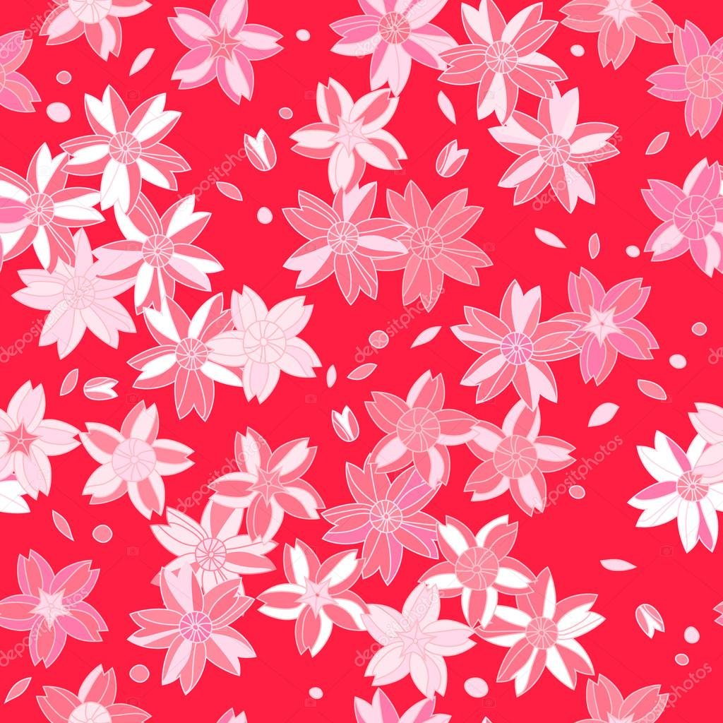 PInk asian sakura flowers on red seamless pattern, vector