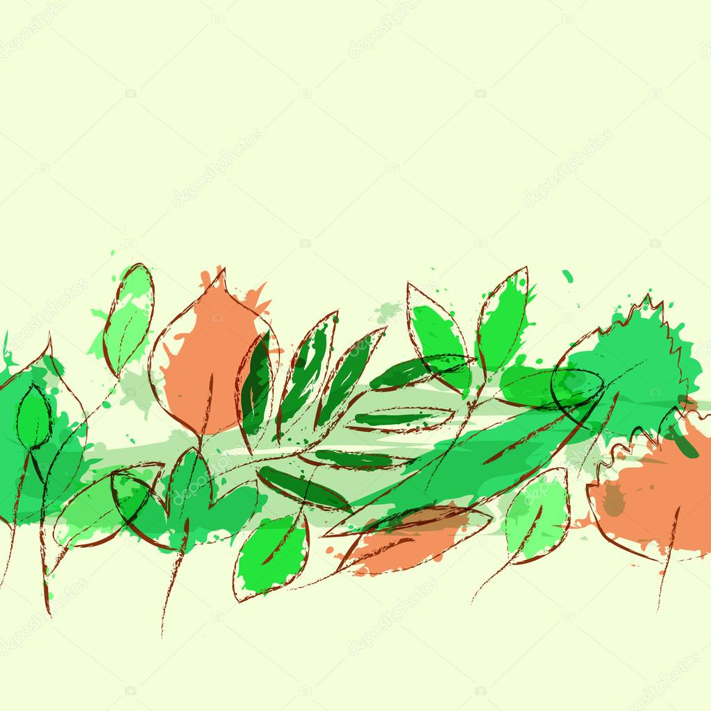 Fresh spring leaves grunge vector background