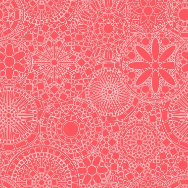 Lacy white circle flower mandalas seamless pattern on pink, vector
