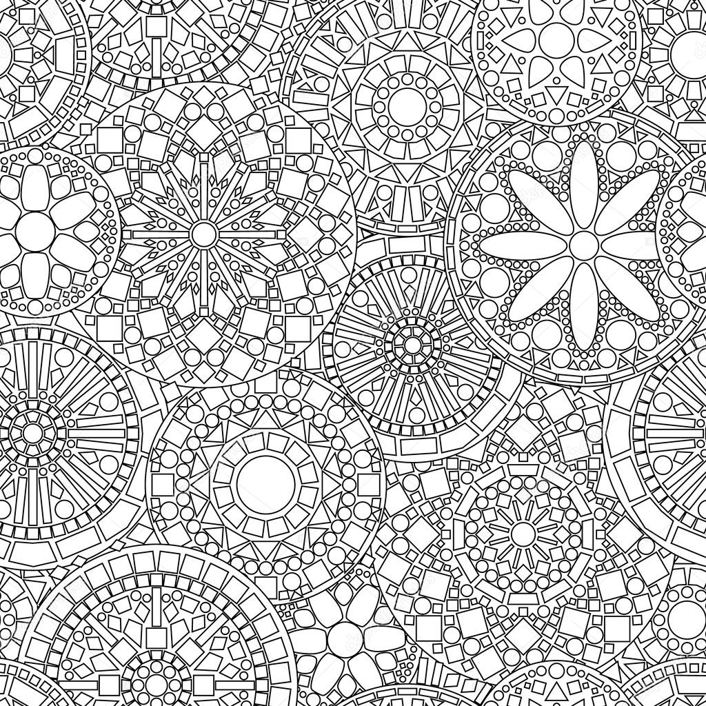 Lacy circle flower mandalas seamless pattern in black and white, vector