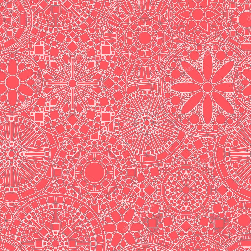 Lacy white circle flower mandalas seamless pattern on pink, vector