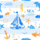 Photo Blue and orange grunge stamp print sailboat, anchor, fishes, seagull on striped white background seamless pattern, vector