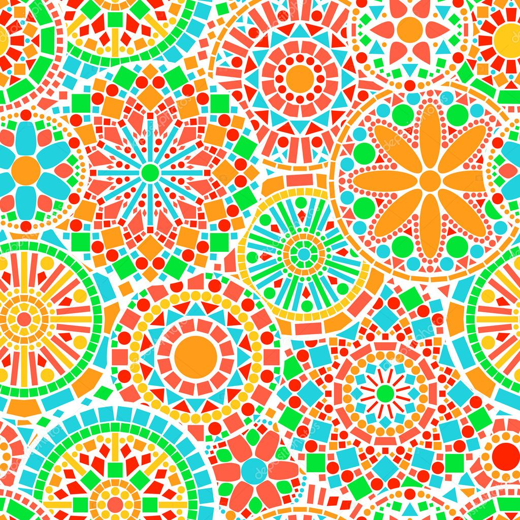 Colorful lacy circle flower mandalas seamless pattern on white, vector