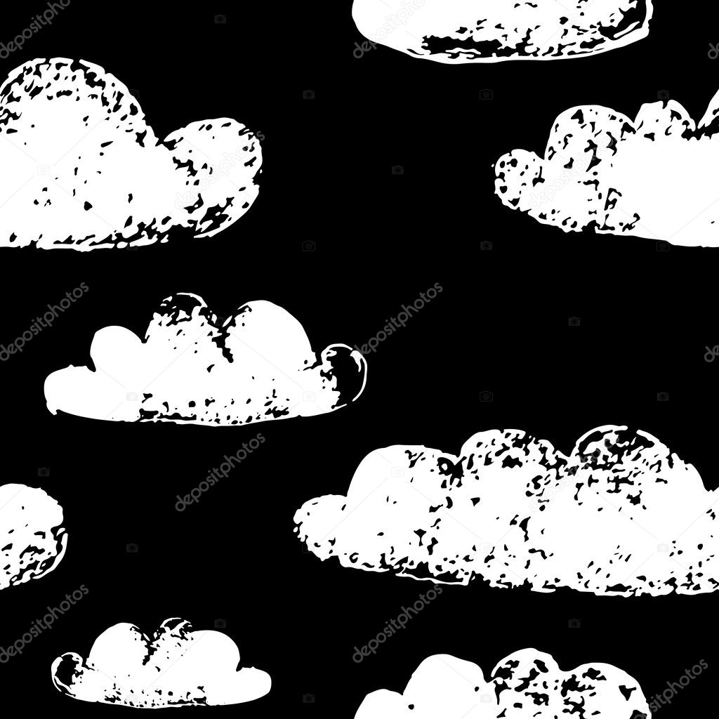 Black and white grunge clouds prints dark sky seamless pattern, vector